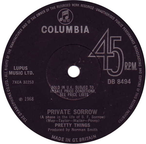Matrice du 45 tours Private Sorrow / Balloon Burning.